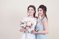 Two adorable women wearing in long fashionable dresses Stock Images
