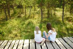 Two adorable young girls catching babyfrogs in summer forest royalty free stock images