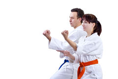 Two adult athlete standing in the rack karate royalty free stock photos