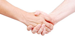 Two adult male hands Stock Photo