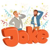 Two adult men loudly laughing after hearing funny joke. Colorful confetti flying in the air. Hahaha text. Cartoon people. Characters in casual clothes. Flat Royalty Free Stock Photography