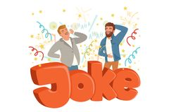 Two adult men loudly laughing after hearing funny joke. Colorful confetti flying in the air. Hahaha text. Cartoon people vector illustration
