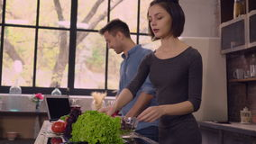 Two adult people cook and drink. Young couple in love cooking on the kitchen. Handsome man talking with attractive woman and using laptop. People speaking and stock video footage