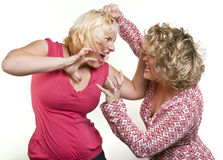 Two adult women blondes fighting Stock Photo