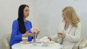 Two businesswomen talks about their new project on coffee break in cafe stock video