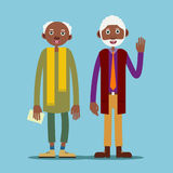 Two african american elderly man. Stand and smile, and one raised his hand in greeting. Illustration in flat style Stock Image