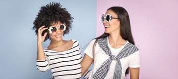 Two african american girls having fun. Royalty Free Stock Image