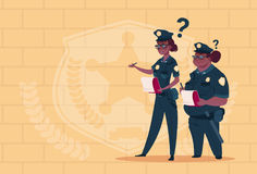 Two African American Police Women Holding Boxes With Office Staff Fired Wearing Uniform Female Guards On Blue Bricks. Background Flat Vector Illustration Royalty Free Stock Photo