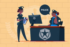 Two African American Police Women Working On Computer Wearing Uniform Female Guards On Blue Bricks Background Stock Image