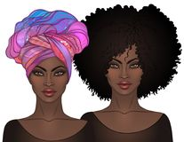 Two African American pretty girls with glossy lips. Vector Illus. Tration of Black Woman. Afro and turban. Great for avatars. Illustration isolated on white Stock Photo