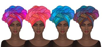 Two African American pretty girls. Vector Illustration of Black. Woman with glossy lips and turban. Great for avatars. Illustration isolated on white Royalty Free Stock Images