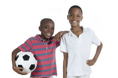 Two african boys with foot ball Royalty Free Stock Images