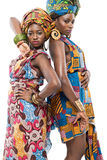 Two African fashion models on white background. Stock Photo