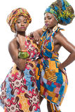 Two African fashion models on white background. Stock Image
