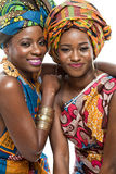 Two African fashion models on white background. Royalty Free Stock Image