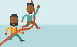 Two african guy running to finish line. A two happy african guy running to the finish line for meeting the deadline. Winner, victory concept. A contemporary Stock Photography