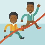 Two african guy running to finish line. A two happy african guy running to the finish line for meeting the deadline. Winner, victory concept. A contemporary Royalty Free Stock Images