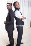 Two african guys back to back.  Royalty Free Stock Image