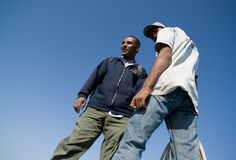 Two african men. Two african man on the top. View from below Stock Photo