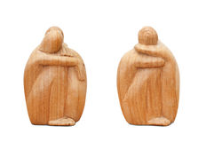 Two african statuette made of wood. Royalty Free Stock Image