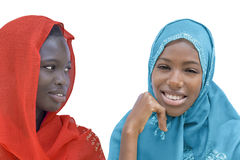 Two Afro beauties wearing a veil, isolated Stock Photo