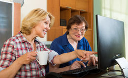 Two aged collegues with PC. Two aged female colleagues looking at PC screen and smiling Royalty Free Stock Images