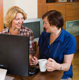 Two aged collegues with PC Royalty Free Stock Photos