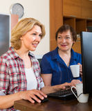 Two aged collegues with PC Royalty Free Stock Photography