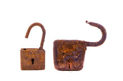 Two aged rusty locks on white Royalty Free Stock Photography
