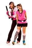 Two aggressive girls. Teenagers pfoto Stock Image