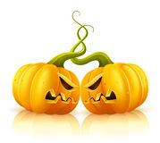 Two aggressive halloween pumpkins in skirmish. Illustration, isolated on white background Stock Photos