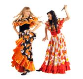 Two agressive woman in gypsy costume Royalty Free Stock Photos