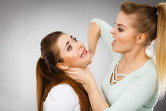 Two agressive women having argue fight. Being mad at each other. Female violance concept royalty free stock photos