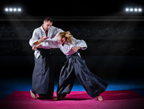 Two aikido fighters Stock Photography