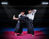 Two aikido fighters Royalty Free Stock Image