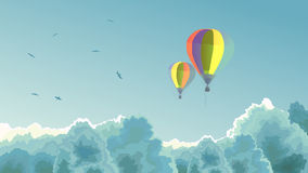 Two air balloons in the sky with clouds. Vector horizontal illustration, two air balloons in the sky with clouds and birds Royalty Free Stock Photos