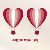 Two Air Baloons Valentine Day Card Royalty Free Stock Photos