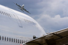Two airbus a380 without any logo. 2 airbus a380 without any logo Royalty Free Stock Photo