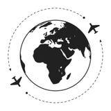 Two aircraft around the globe. Grey white illustration.  Eps10 Stock Photography