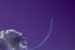 Two aircraft in the sky. Aerobatic.  MAKS-2015.  Group aerobatics Stock Photos
