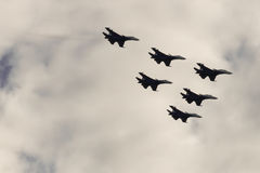 Two aircraft in the sky. Aerobatic.  MAKS-2015.  Group aerobatics Stock Images