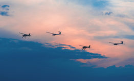 Two aircraft and two gliders Stock Image