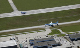 Two aircrafts on the runaway Stock Images