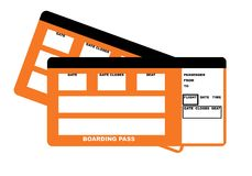 Two airline boarding pass tickets. Illustration of two blank airline boarding pass tickets, isolated on white background Royalty Free Stock Images