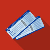 Two airline tickets icon in flat style  on white background. Rest and travel symbol stock vector illustration. Stock Photos