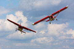 Two airplane. Two light airplane in the air Royalty Free Stock Photography