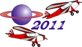 Two airplane  New Year Royalty Free Stock Image