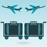 Two airplane taking off, Luggage for travel. Shipping Luggage trolley, baggage handling. Tourism, travel by plane, the airport royalty free illustration