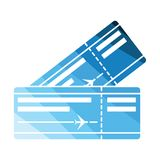 Two airplane tickets icon Stock Photography
