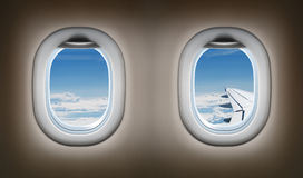 Two airplane windows. Jet interior. Stock Images